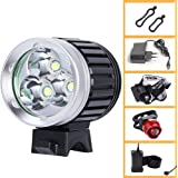 Ammiy Cree XM-L T6 LED Bike Light Bicycle Light Headlight Headlamp Rechargeable Waterproof 8.4 V, 7200mAh 4 x 18650 Battery EU Charger + Rear light