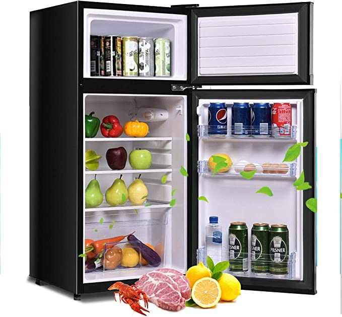 Removable Shelves 91L Compact Refrigerator with Small Freezer Energy Star Reversible Door Mini Refrigerator with Adjustable Temperature Ultra-Quiet for Bedroom Office Dorm Mini Fridge/3.2 Cu.Ft