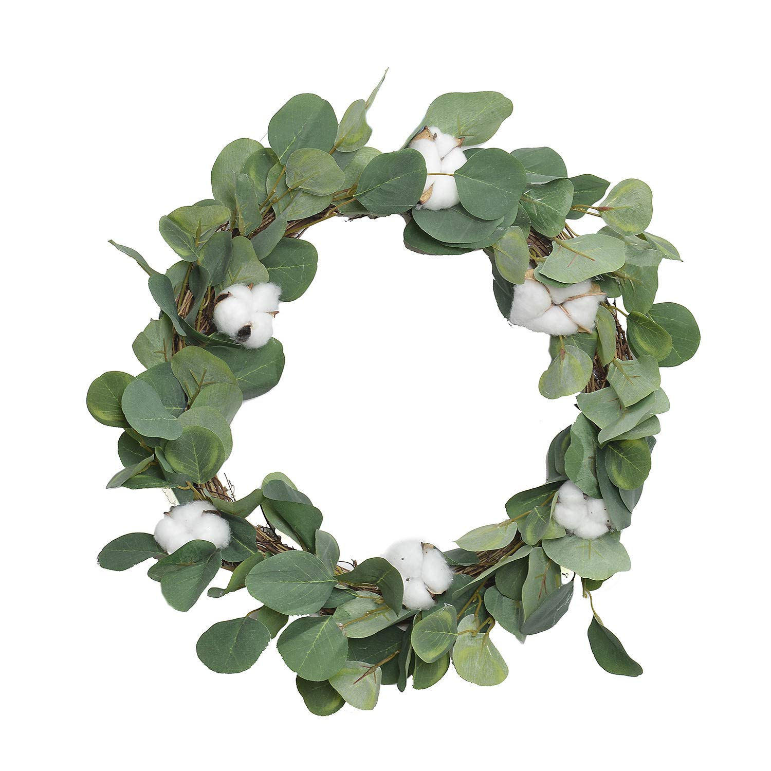 FAVOWREATH 2018 Vitality Series FAVO-W107 Handmade 15 inch Laurel/Eucalyptus Leaf,Cotton Grapevine Wreath for Summer/Fall Festival Front Door/Wall/Fireplace Every Day Nearly Natural Home Hanger Decor