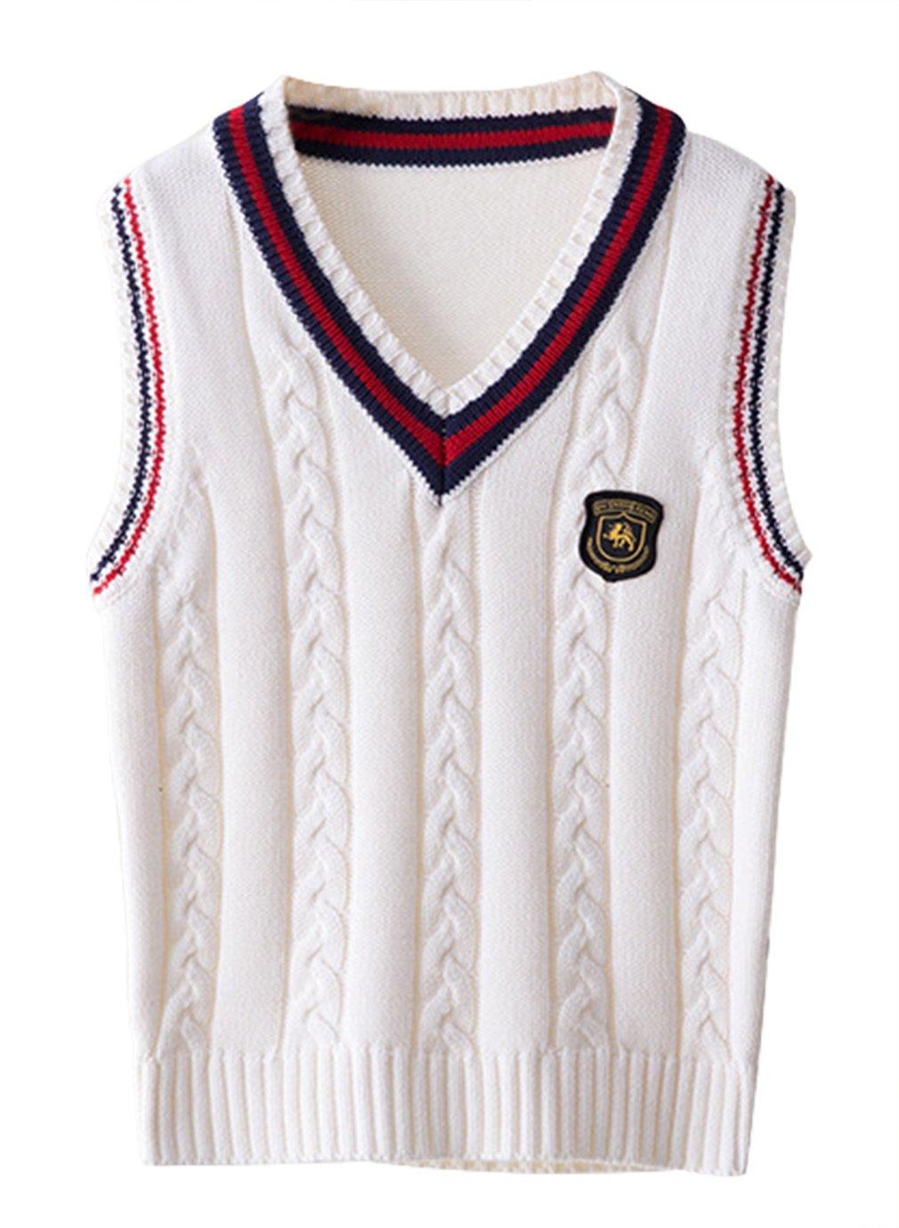 La Vogue Boy Vest V-Neck Knit Pullover School Uniform Sweater Cotton Waistcoat Beige 4-5Y
