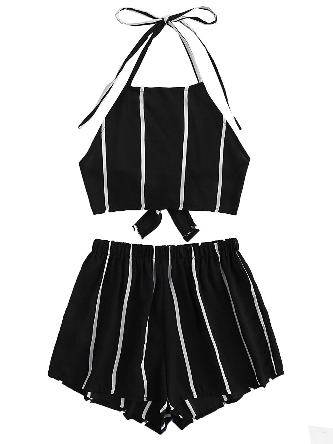 5black SweatyRocks Women's 2 Piece Outfit Striped V Neck Knot Front Crop Top with Shorts