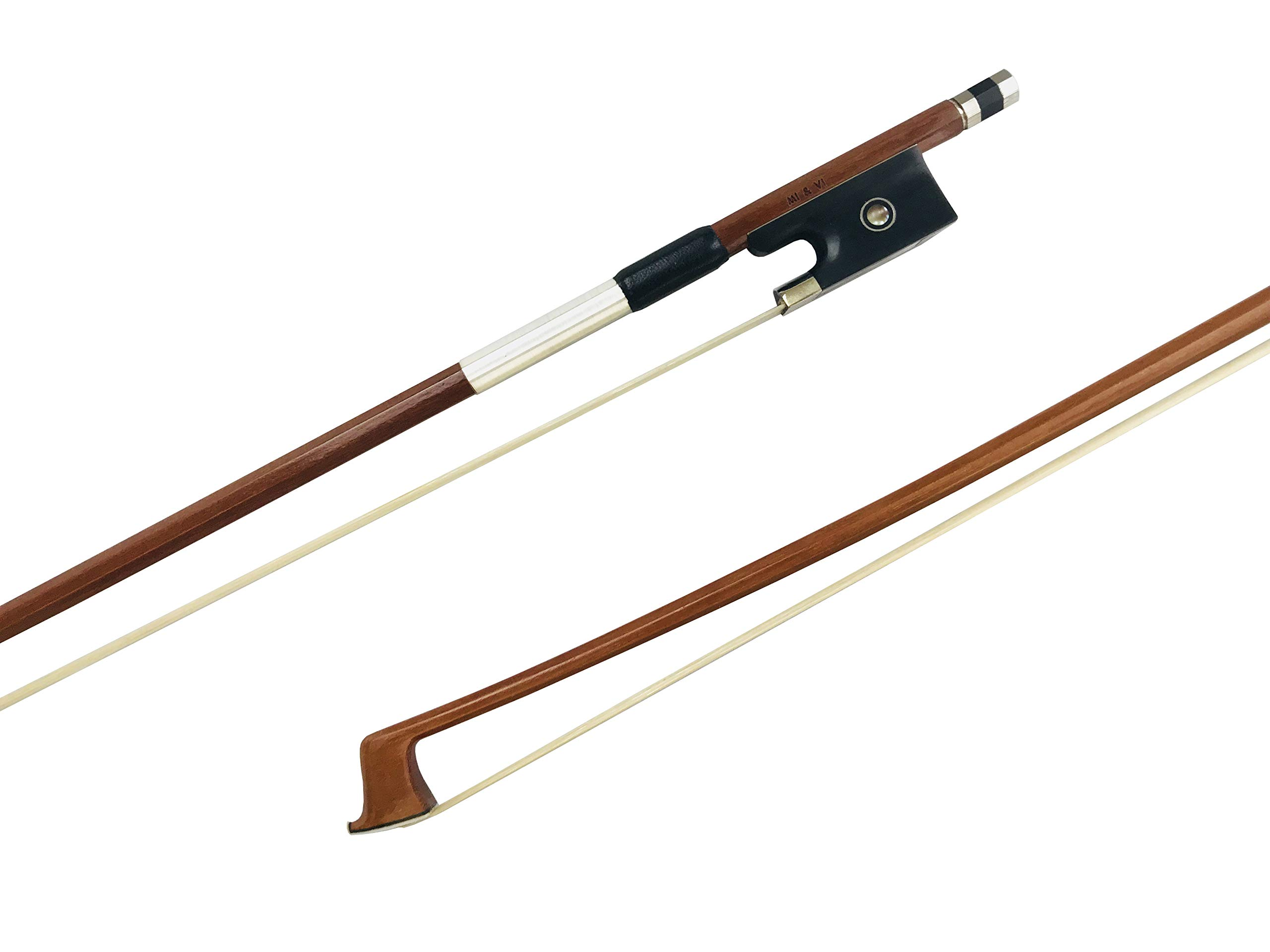 MI&VI Basic Pernambuco Violin Bow w/Ebony Frog, Octagonal Silver Mounted Nickel Stick (Violin 1/4)