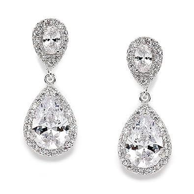 Amazon Mariell Elegant Cubic Zirconia Halo Teardrop Earrings