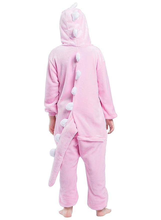 Kigurumi Pijama Animal Entero Unisex para Niños con Capucha Cosplay Pyjamas Dinosaurio Rosa Ropa de Dormir Traje de Disfraz para Festival de Carnaval ...