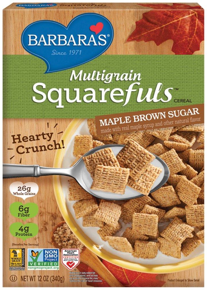 Barbara's Bakery Multigrain Squarefuls Cereal, Maple Brown Sugar, 12 Ounce