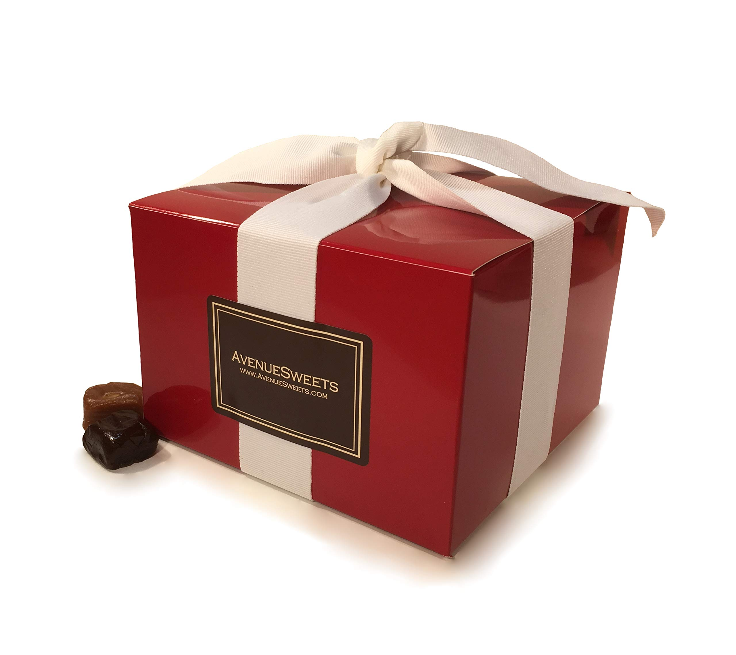 AvenueSweets - Handcrafted Individually Wrapped Soft Caramels - Red 1.5 lb Gift Box - Customize Your Flavors by AvenueSweets