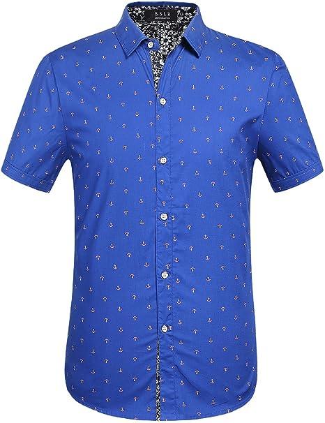 SSLR Camisa Hombre Manga Corta Casual Estampado Anclas Regular Fit: Amazon.es: Ropa y accesorios