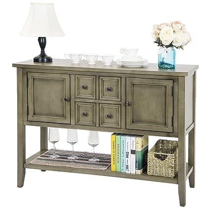 Harper U0026 Bright Designs Acacia Mangium Sideboard Console Table With Bottom  Shelf (Antique Gray)