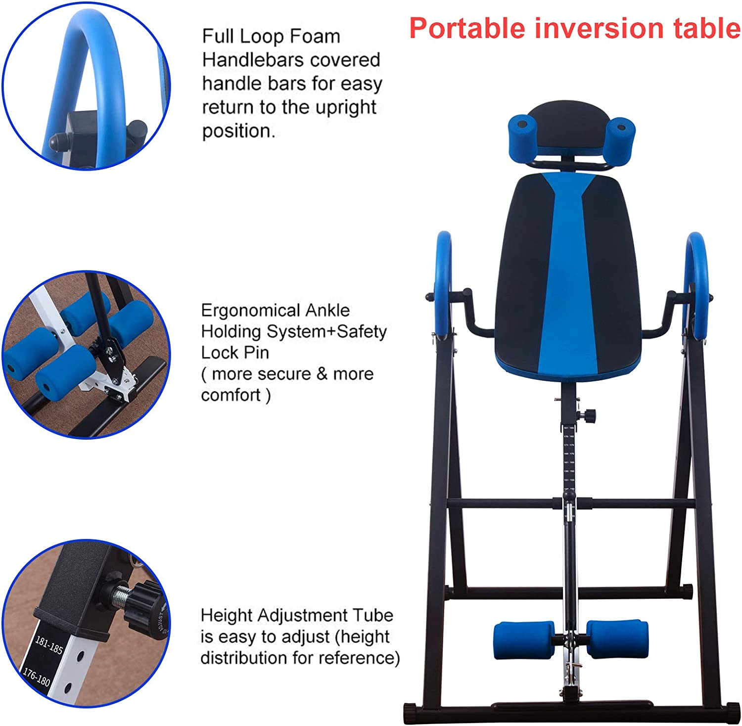 Polar Aurora Heavy Duty Gravity Inversion Table with Headrest /& Adjustable Protective Belt Back Stretcher Machine for Pain Relief Therapy