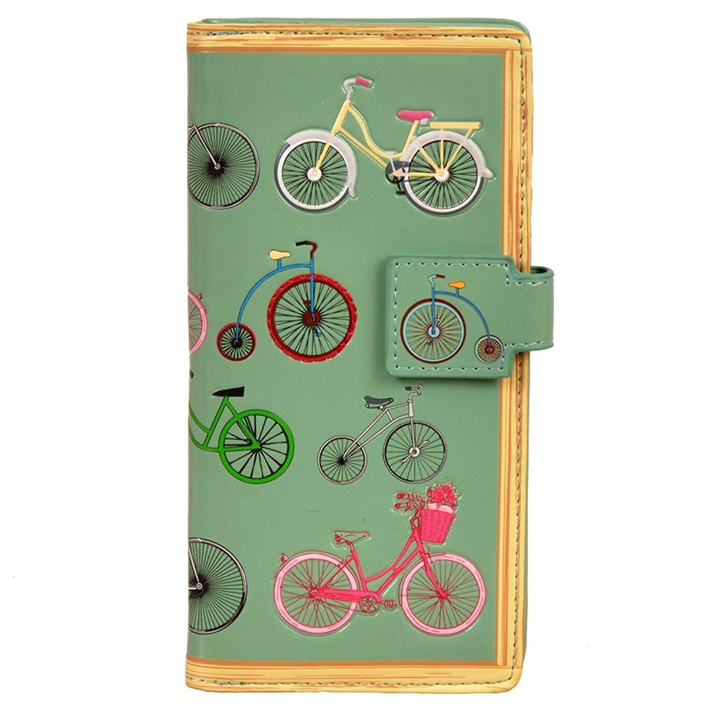 Shag Wear Women's Large Zipper Wallet Vintage Bicycles Sea Foam
