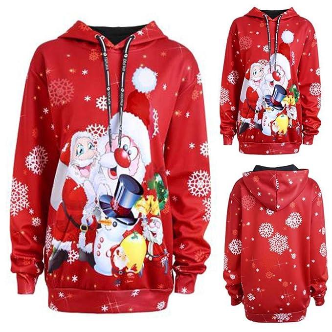 Sudaderas con capucha Koly Mujer Navidad Santa Claus Monigote de nieve Sudaderas Camisetas y Tops Sweatershirt