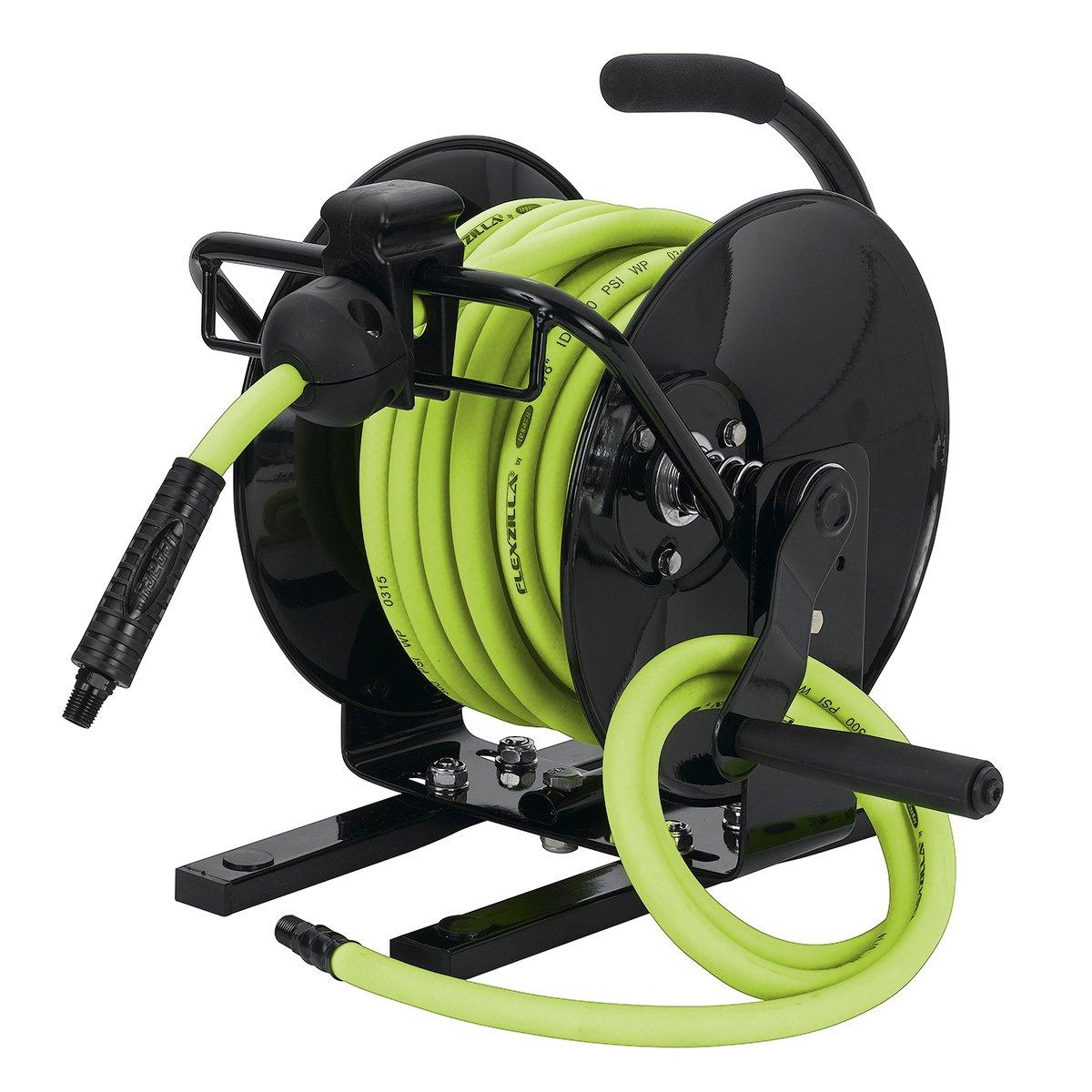 Flexzilla Portable Manual Open Face Air Hose Reel, 3/8 in. x 50 ft., Heavy Duty, Lightweight, Hybrid, ZillaGreen - L8651FZ