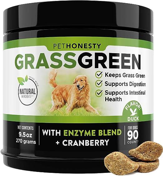 PetHonesty GrassGreen Grass Burn Spot Chews for Dogs - Dog Pee Lawn Spot Saver Treatment Caused by Dog Urine - Cranberry, Apple Cider Vinegar, DL-Methionine Grass Treatment Rocks - 90 Chews