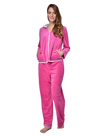 RAIKOU Nicki Women s Velour Leisure Suit Tracksuit Jogging Suit with Zip  and Hood with Leopard Print 1e238e973b