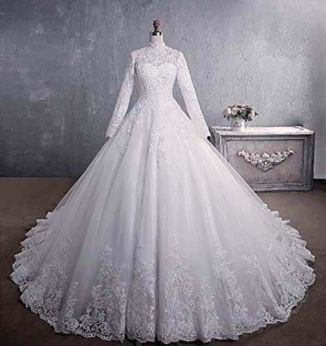Amazon Com Vintage High Collar Lace Wedding Dresses Ball Gown