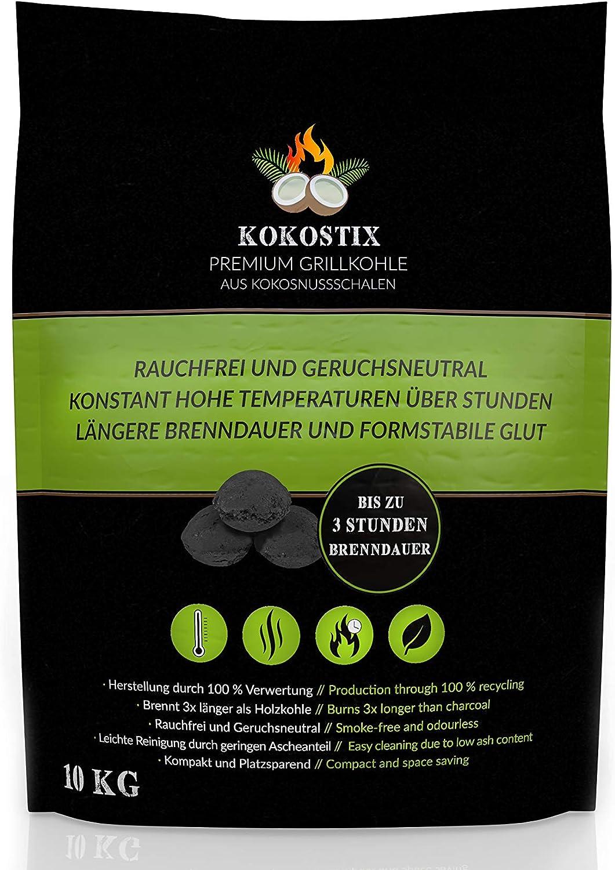gleichbleibende Hitzeabgabe V2 FOODS Kokostix Grillkohle aus Kokos-Kohle 10kg im Karton oder Sack extra Lange Brenndauer 10kg Karton