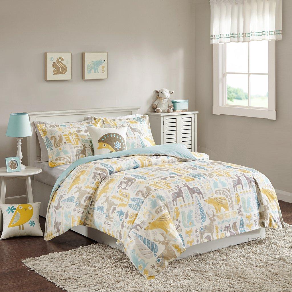 INK+IVY Kids Woodland Full/Queen Kids Duvet Cover Bed Set - Yellow Aqua, Animal – 4 Piece Kids Girls Duvet Set – Cotton Childrens Bedding Set