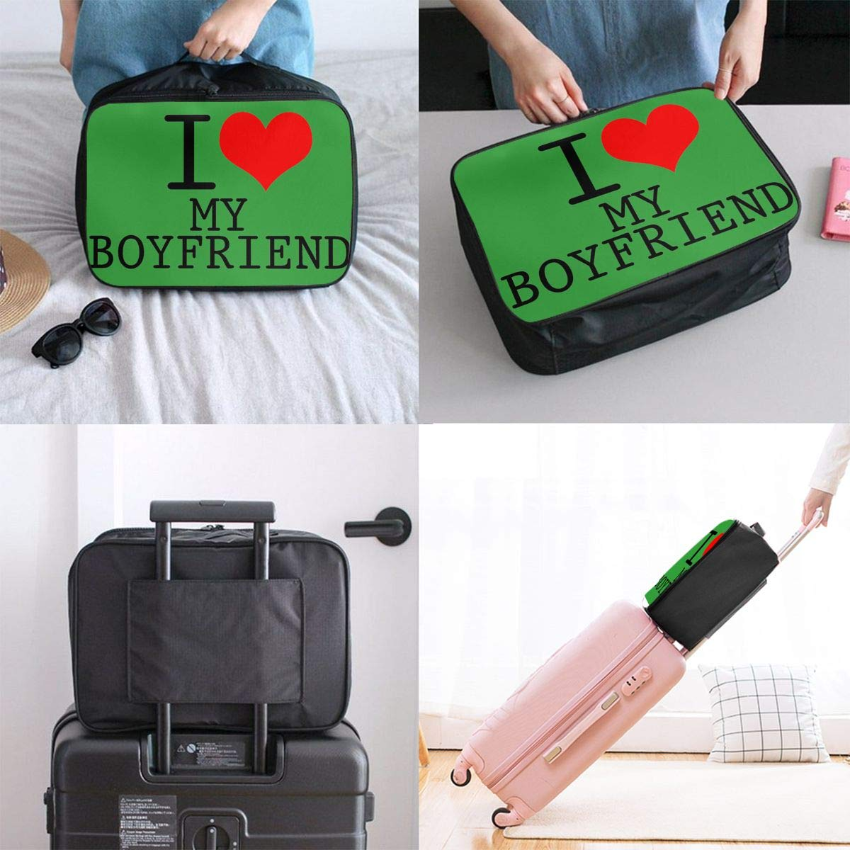 Travel Luggage Duffle Bag Lightweight Portable Handbag Love Boyfriend Large Capacity Waterproof Foldable Storage Tote