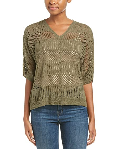 Amazon Michael Stars Womens Open Knit Top S Green Clothing