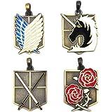 CoolChange Boîte cadeau avec pendants de collection Attaque des Titans: bataillon d'exploration, 104ème brigade d'entrainement, force militaire, brigades spéciales.