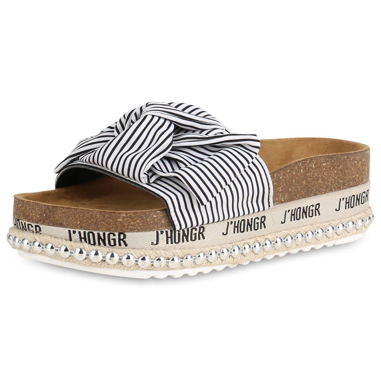 SCARPE VITA Damen Sandaletten Pantoletten mit Plateau Metallic Nieten  37 EU|Schwarz Bast