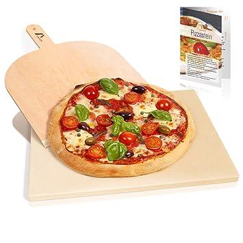 Amazy Piedra para pizza (38 x 30 x 1,5 cm) + Pala + Instrucciones ...