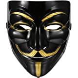 Beyove Guy Plastic Fawkes Mask Anonymous VIP Edition Face-Mask Perfect Fit Cosplay Protest V for Vendetta DC Comics (Black)