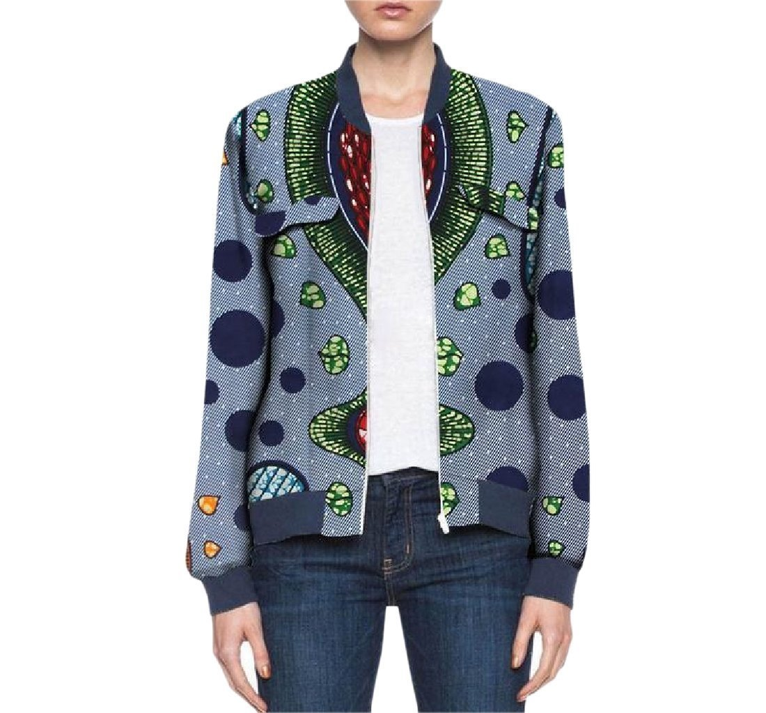 Fieer Womens Cotton Dashiki Wrap Africa Zip Active Baseball Jacket 1 S