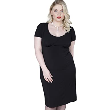 Emily London Womens Plus Size Olivia Glamour Girl Bodycon Dress Black - UK Size 16 US