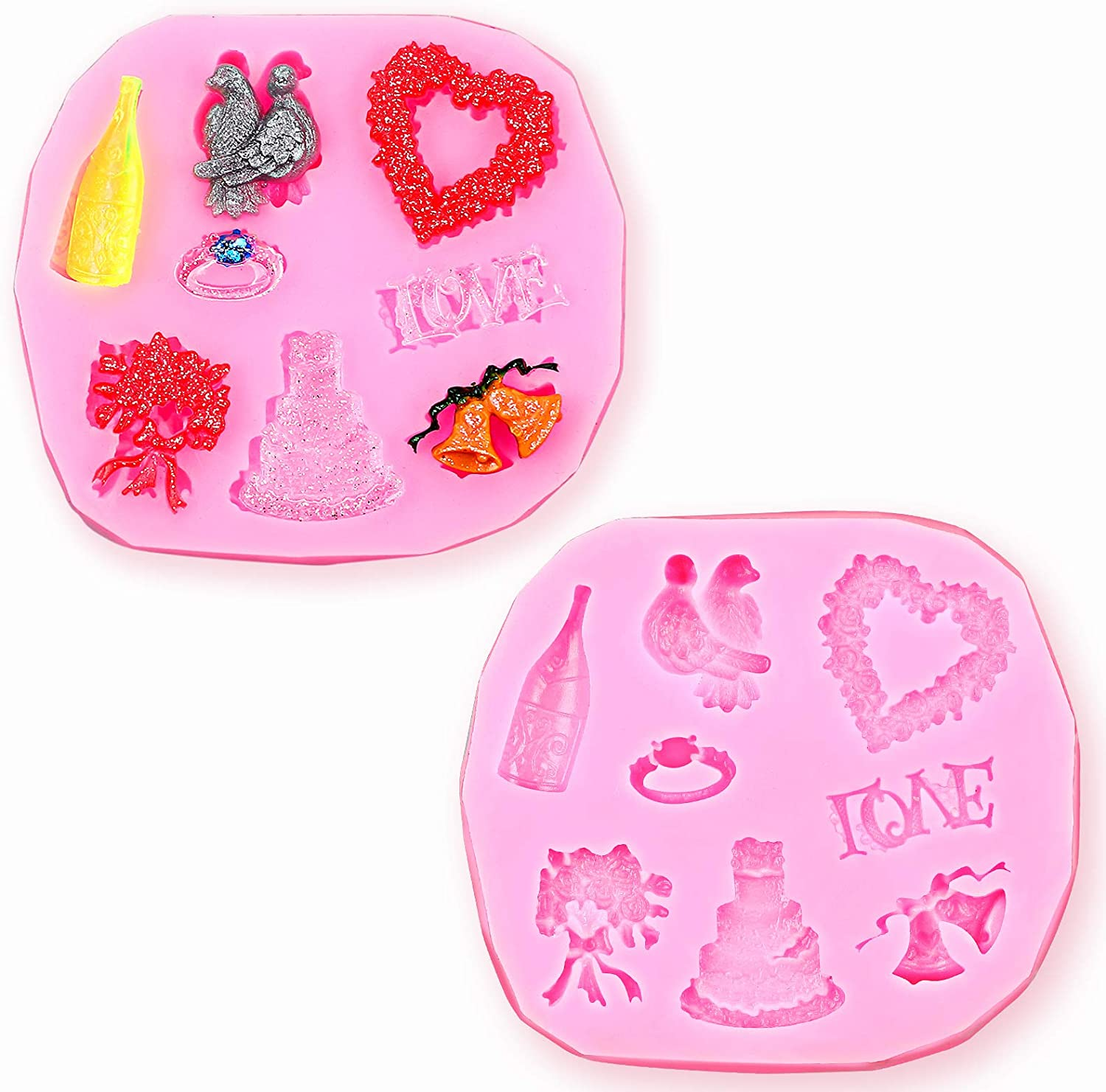 2 Pieces Micro Mini Love Wedding Anniversary Engagement Silicone Mould Fondant Cake Icing Mold Cake Bell Champagne Ring Jelly Sugar Candy Chocolate Decor for Valentine's Day Wedding Christmas Decor