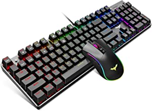 Havit Mechanical Gaming Keyboard and Mouse Combo Blue Switch 104 Keys Rainbow Backlit Keyboards, 4800DPI 7 Button Mouse Wired for PC Gamer Computer Laptop