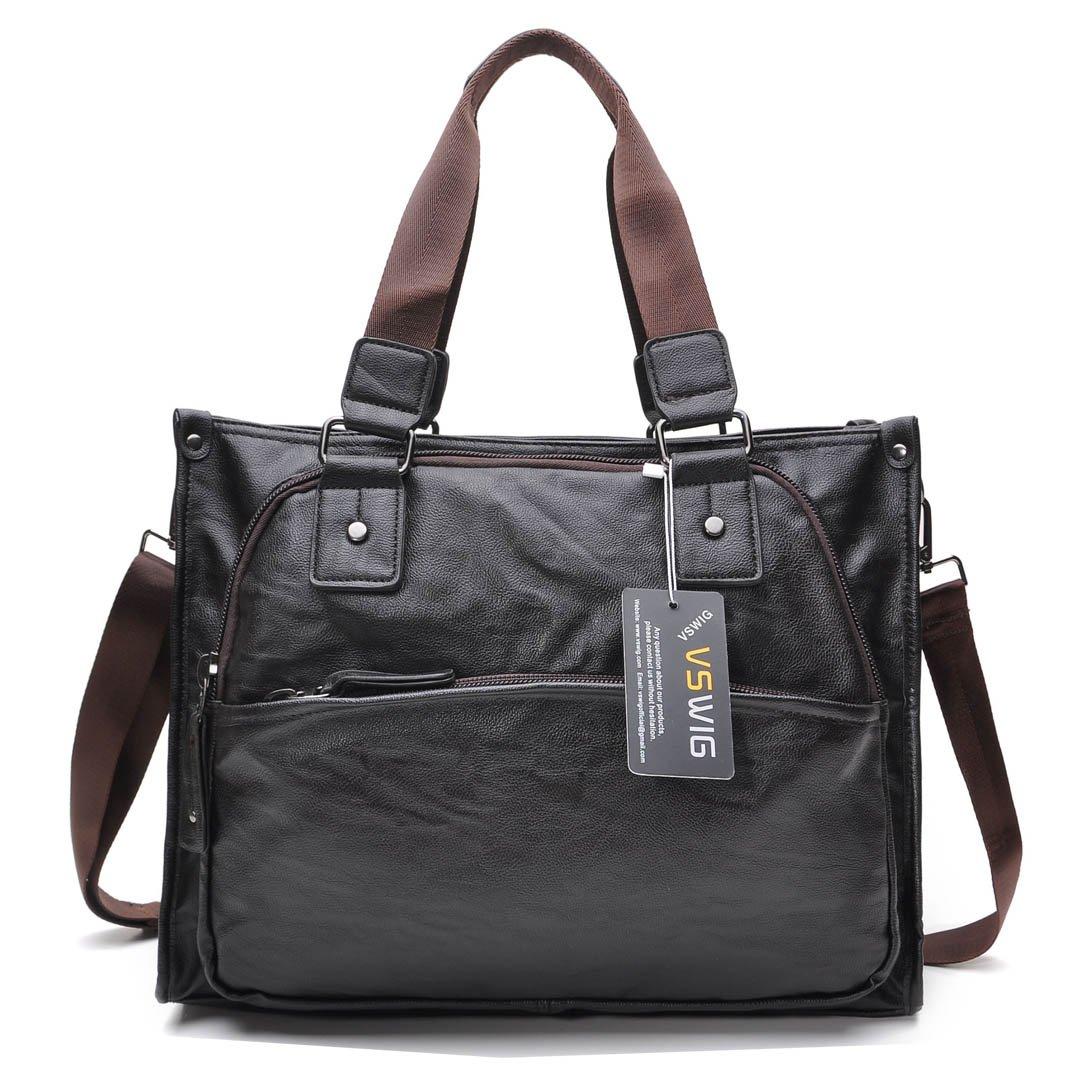 VSWIG Vintage Aktentasche Businesstasche Leder Herren Damen Lehrertasche XL groß Büro Business Umhängetasche für 15, 6 Zoll Laptop PU-Leder Unisex (Braun)