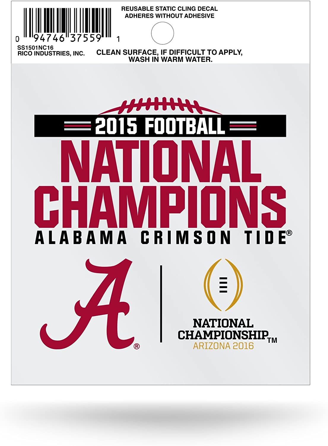 Rico Industries NCAA Alabama Crimson Tide 2015 CFP Champ Small Static Cling,4.5-Inch by 3.5-Inch,Red