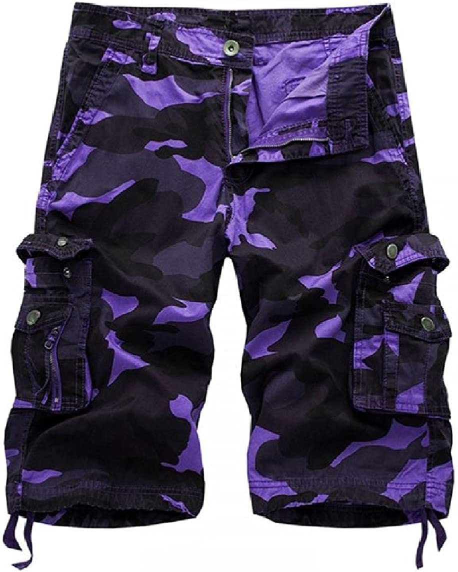 Nicelly Mens Comfy Camouflage Multi-Pockets Outdoor Printed Casual Cargo Shorts