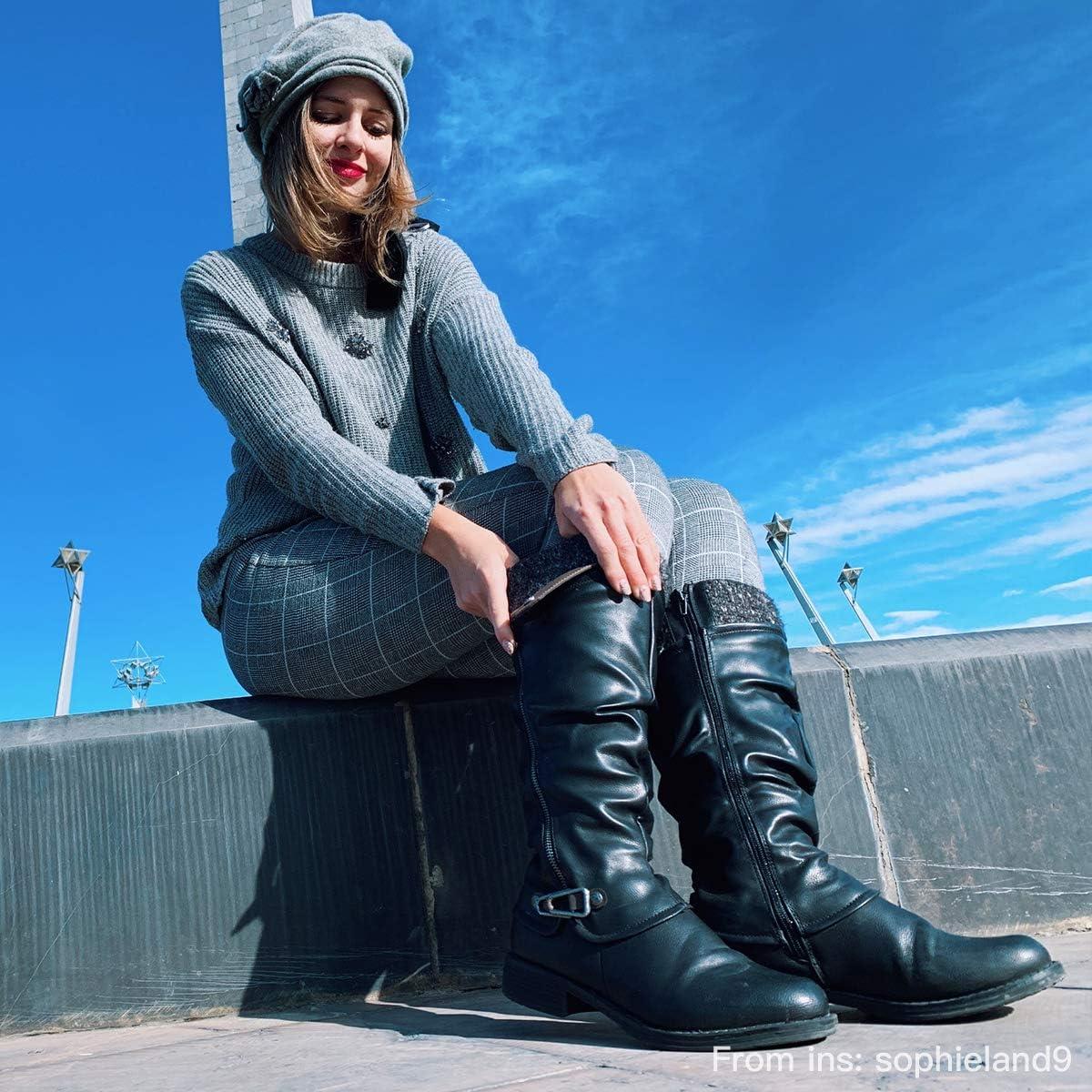 Ladies Women/'s Winter Buckle Snow Flat Low Heel Warm Knee High Fur Lined Boots