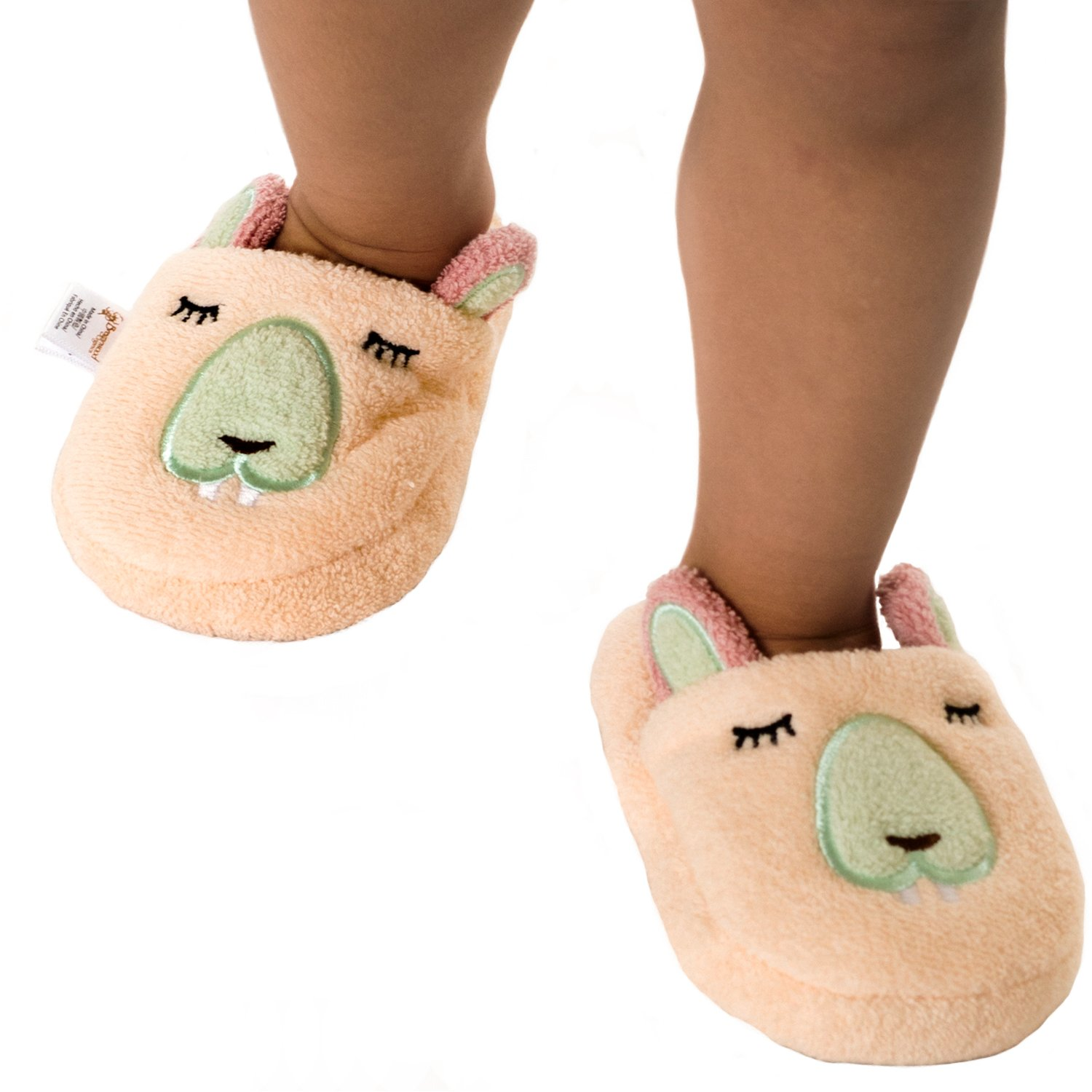 Breganwood Organics Toddlers Terry House Slippers for Boys and Girls, Closed Toe with Non Slip Sole, Pastel Peach Animal Design, Busy Beaver by Breganwood Organics (Image #3)