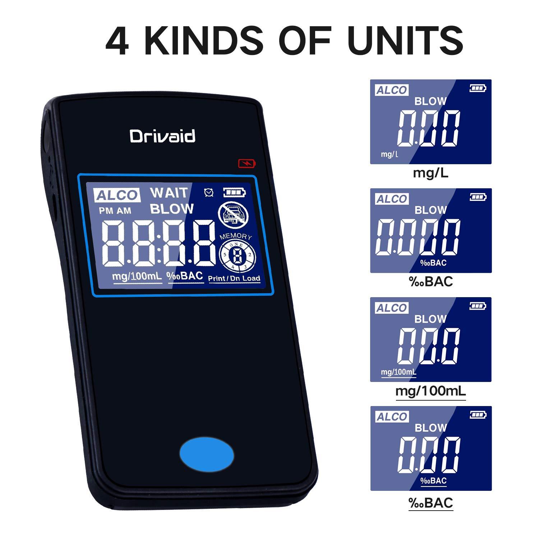Drivaid Etilometro Portatile Digitale Professionale Ricaricabile Alcool Test Con Schermo LED Display Sensore Semiconduttore 20 Boccagli
