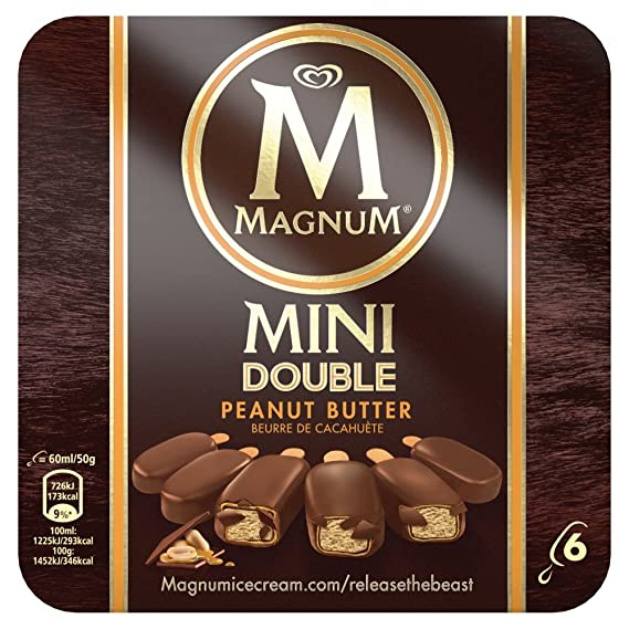 Magnum Mini Double Peanut Butter Helado - Paquete de 6 x 60 ml - Total: