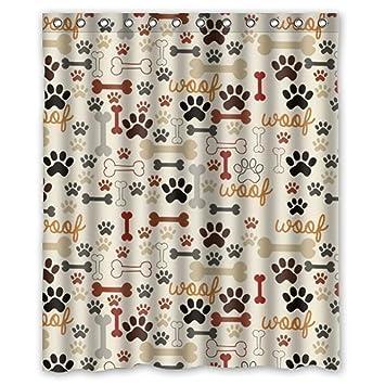 JackieTD Dog Paw And Bone Print Shower CurtainFunkybrightPolyester Fabric Waterproof