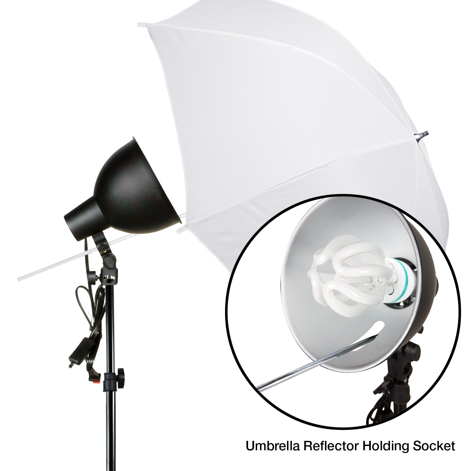 LimoStudio 2-Pack Reflector Dish Metal Lamp with Continuous Lighting Bulb and Umbrella Reflector, Lamp Socket and Umbrella Reflector Holding Slot, Light Stand Tripod, Photo Studio, AGG2604V2 by LimoStudio (Image #5)