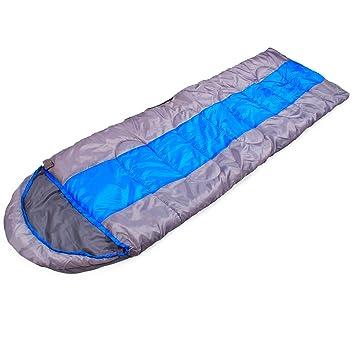 Saco de Dormir Envolvente Ligero Azul - Saco de Dormir Envolvente con Capucha, Bolsa de Cuerda y Bolsa de Transporte de Compresión: Amazon.es: Deportes y ...