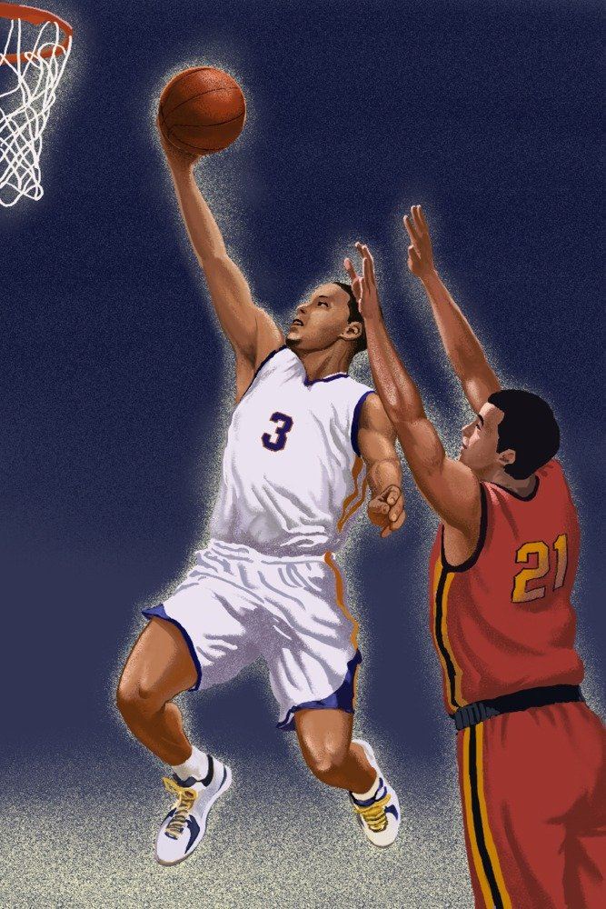 Basketball Player (24x36 Gallery Quality Metal Art) by Lantern Press (Image #1)