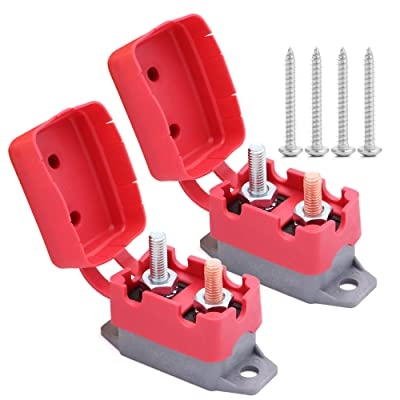 2pcs 12V/24V 50A Automatic Reset Circuit Breaker with Cover Stud Bolt Type and Screw for Battery Chargers, Trucks, Buses, Electric Cars, Car Engines: Industrial & Scientific