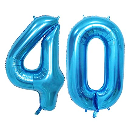 Amazon Number 40 Blue Foil 40inch Jumbo Digital Balloons 40th