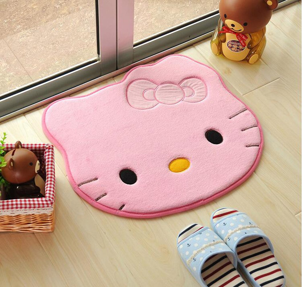 Cartoon Hello Kitty Rug Study Bedroom Non-slip Mat Soft and Absorbent Bath Mat Area Rug (pink)