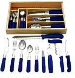 37-Kit de couverts de table, en acier inoxydable avec poignées bleues, 37-tlg. Besteckset
