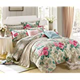 Ahmedabad Cotton 144 TC Printed Single Flat Bedsheet with 1 Pillow Covers - Multicolor