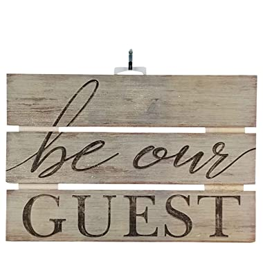 "Imprints Plus Be Our Guest Inspirational Reclaimed Wood Sign, 12"" x 8"" Rustic Wall Decor Plaque Hangers Bundle 12500002"