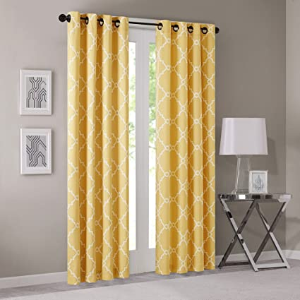 Madison Park Saratoga Room-Darkening Curtain Fretwork Print 1 Window Panel  with Grommet Top Blackout Drapes for Bedroom and Dorm, 50x95, Yellow