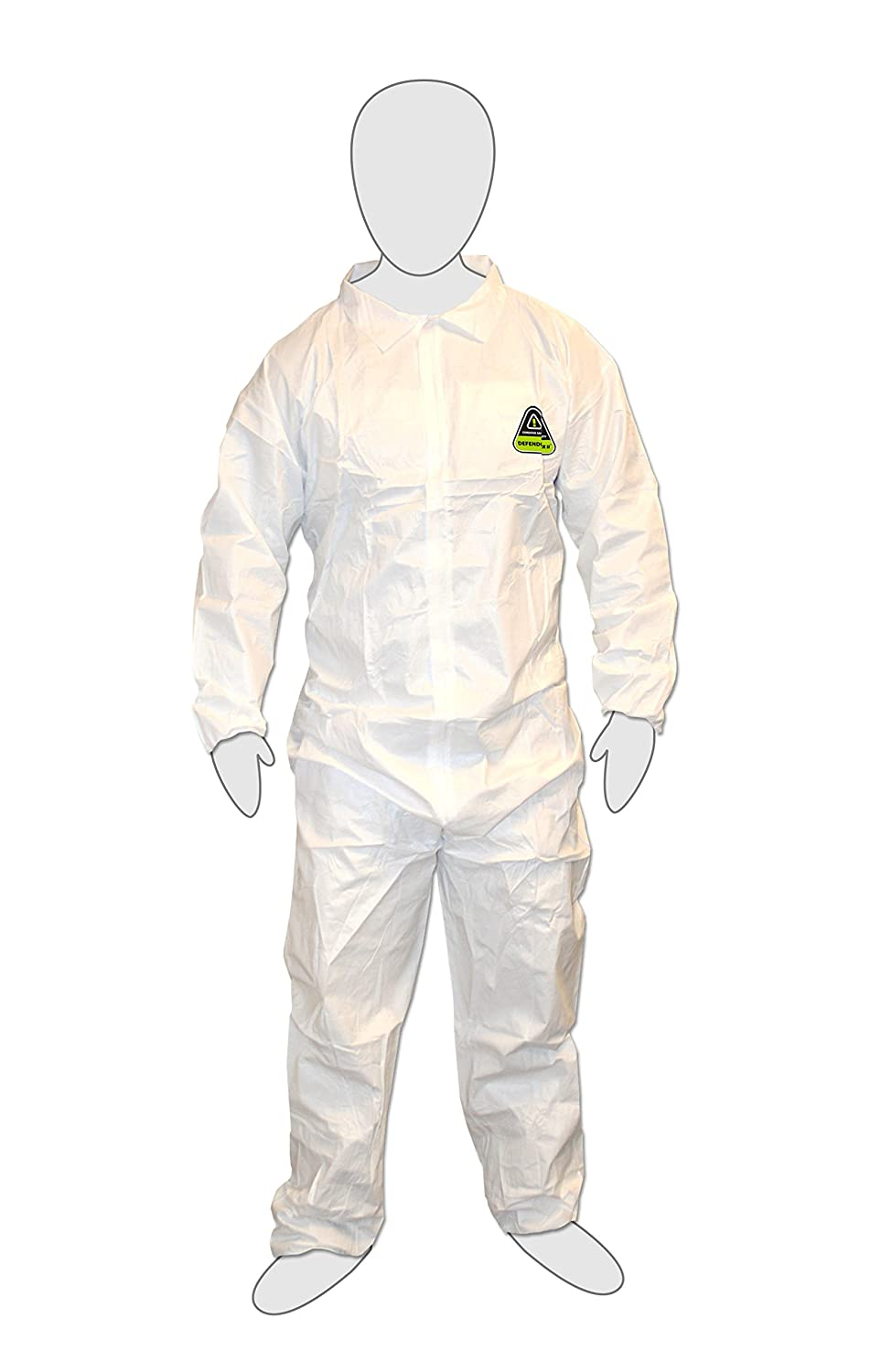 Cordova Safety Products MP200L 25 Piece Defender II Standard Microporous Disposable Coveralls with Elastic Wrists & Ankles, Large, White